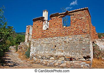 tacchino, vecchio, abbandonato, doganbey, greek/turkish, ...