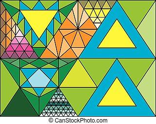 taché, aléatoire, verre, figures, triangulation, fenêtre