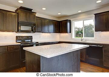 taché, moderne, cabinets., cuisine