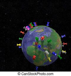 tachas, em, espaço, mapa terra