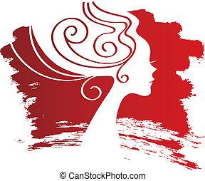 tache, femme, silhouette, fond