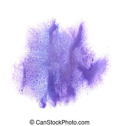 tache, lilas, éclaboussure, isolé, main, fond, encre, blanc, painte
