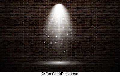 tache, mur brique, lumière