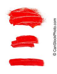 tache, peinture, collection, blanc, isolé, arrière-plan., huile, acrylique, strokes., résumé, brosse