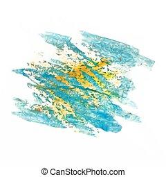 tache, vecteur, aquarelle, isolé, maille, bleu, jaune