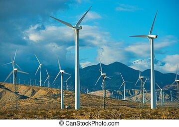 tache, venteux, turbines, vent