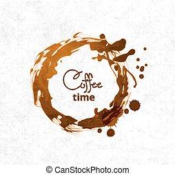 taches, café, fond blanc, tasse