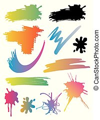 taches, coups, splatters., brosse