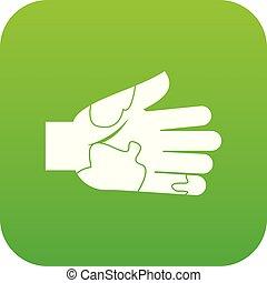 taches, numérique, vert, icône, main