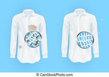 taches, sale, fond blanc, brun, propre, chemise, bleu