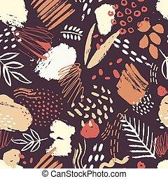 taches, style, art, toile fond., coloré, peinture, modèle, résumé, emballage, contemporain, illustration, seamless, sombre, arrière-plan., taches, vecteur, artistique, branché, gribouiller, paper.