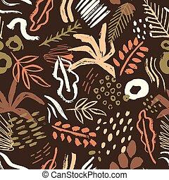taches, style, vecteur, art, toile fond., brun, peinture, modèle, résumé, impression, emballage, contemporain, seamless, sombre, arrière-plan., taches, gribouiller, artistique, branché, coloré, paper.
