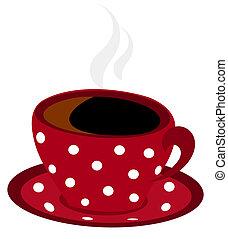 tacheté, café, vecteur, tasse