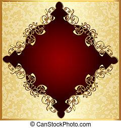 tacheté, gold(en), modèle, cadre, fond, rouges
