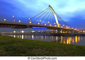 TaChih Bridge shinning at night in Taipei