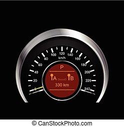 tachimetro, astratto, vettore, metallo, illustrazione