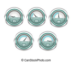 tachimetro, baluginante, metallo, illustrazione, percentuale, velocità