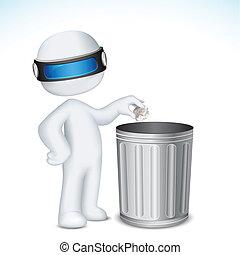tacho de basura, utilizar, 3d, hombre