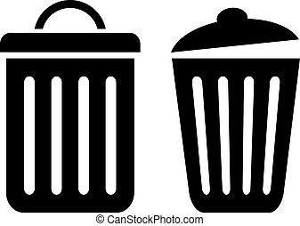 tacho de basura, vector, icono