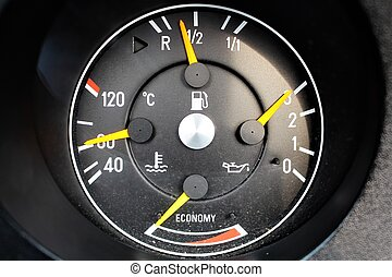 tachometer, bil, avbild, klassisk