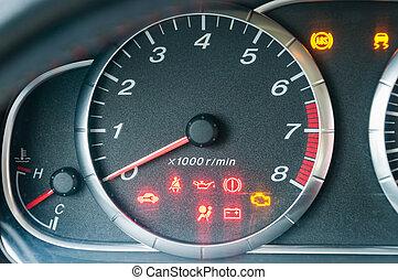 tachometer, bil, närbild