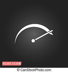 tachometer flat icon - Tachometer. White flat simple vector ...