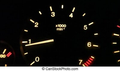 tachometer, from blurred to sharp and comeback