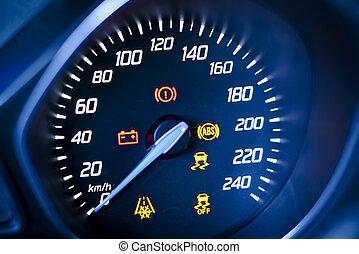 tachometer, geschwindigkeitsmesser, cluster, sichtbar, illuminated., auto, symbole, fragment, warnung, lampen, armaturenbrett
