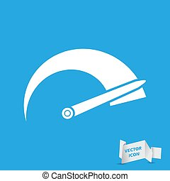 Tachometer icon on a blue background