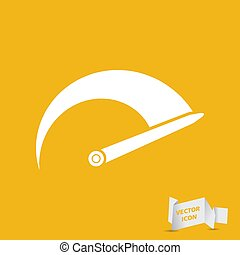 Tachometer icon on the yellow background