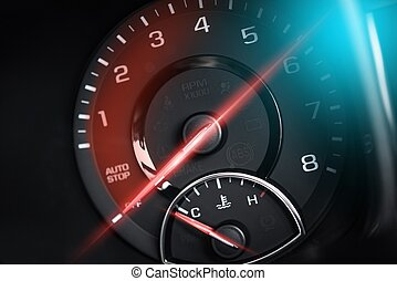 Tachometer RPM Meter Car Power Concept. Super Car Electronic...