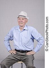 tachtig, jaren oud, man, verticaal
