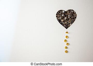 tachuelas, corazón, blanco, plano de fondo, útil, para,...