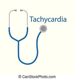 tachycardia, szó, és, sztetoszkóp, ikon