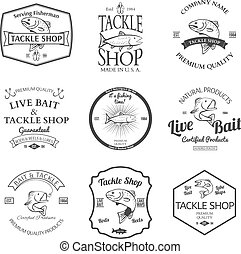 Tackle And Bait Shop Label Design Elements Emblem Vector