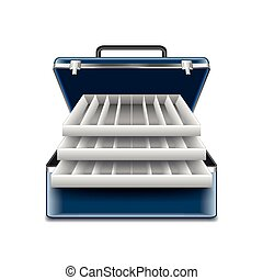 Tackle box isolated on white vector