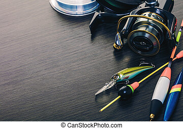 Tackle for fishing rods closeup