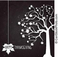 tacksägelse, affisch, på, svart, chalkboard, med, träd, och, handskrivet, text., vektor, illustration.