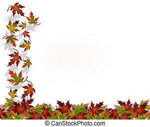 tacksägelse, bladen, höst, falla