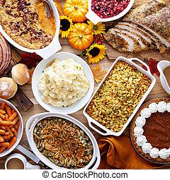tacksägelse, bord, med, turkiet, och, sidor