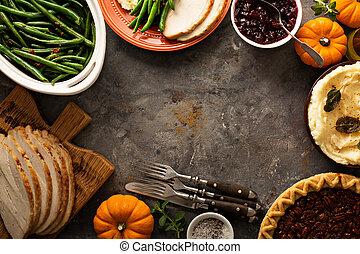 tacksägelse, bord, overheadkostnad fotograferade