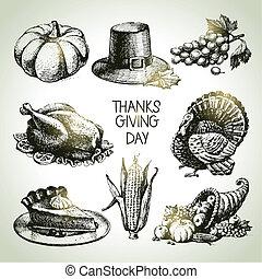 tacksägelse, dag, set., hand, oavgjord, årgång, illustrationer