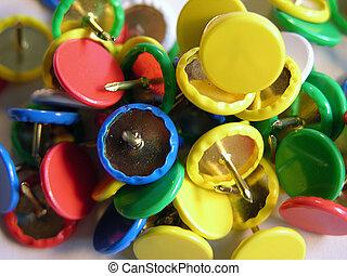 Tacks - close up of colorful thumb tacks