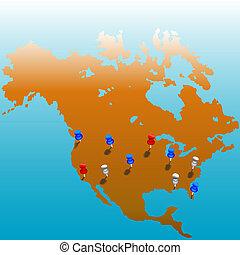 tacks, ons, wereld wijd, kaart