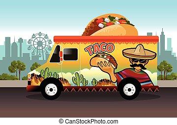 taco, alimento, camión