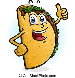 Taco Cartoon Character Giving A Thumbs Up
