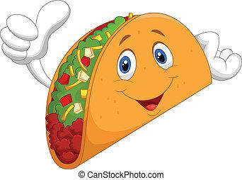 Taco cartoon giving thumb up - Vector illustration of Taco...