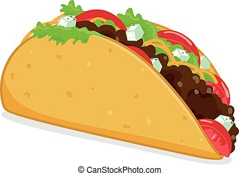 Taco vector illustration on white background.