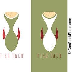 taco fish mexican food vector design template