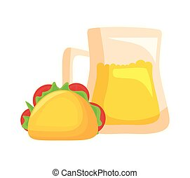 taco food mexican with jar beer isolated icon